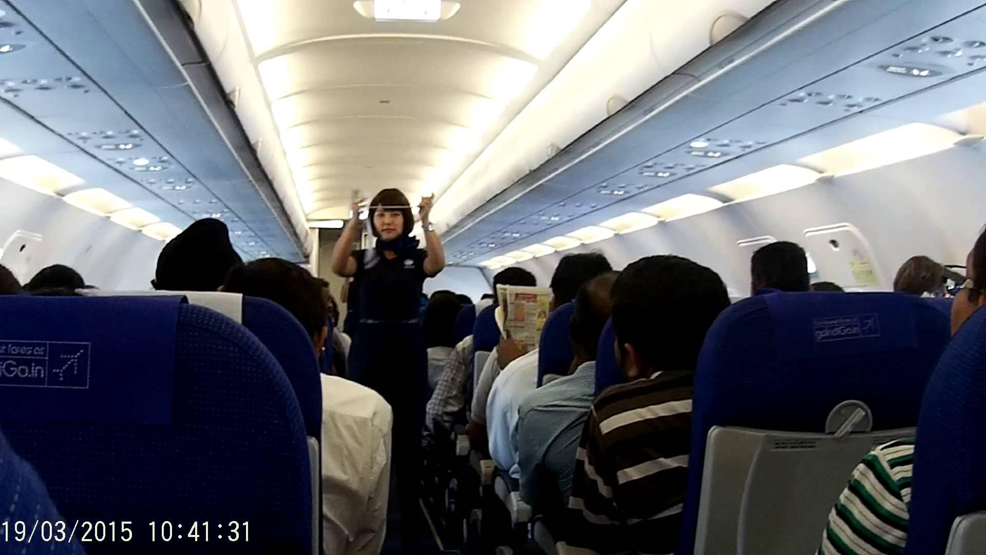 Indigo Flight Air Hostess Explaining Safety Demonstration Sj5000 Camera Video Chennai To Delhi